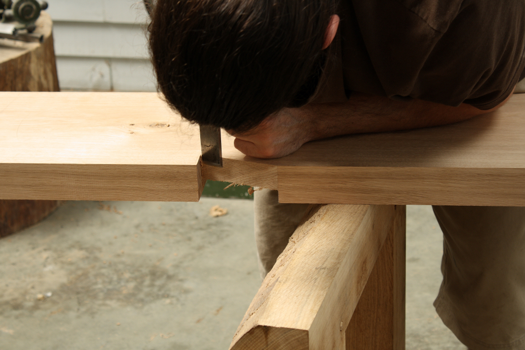 Truing the apron joint on the English workbench