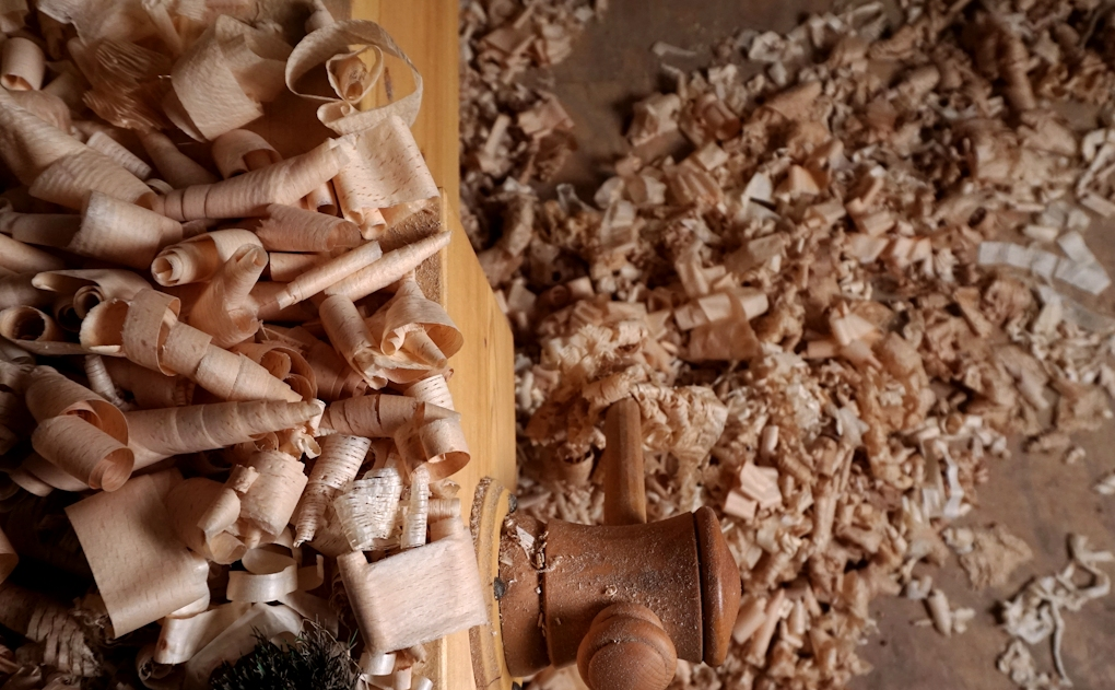 Wood shavings from hand planes