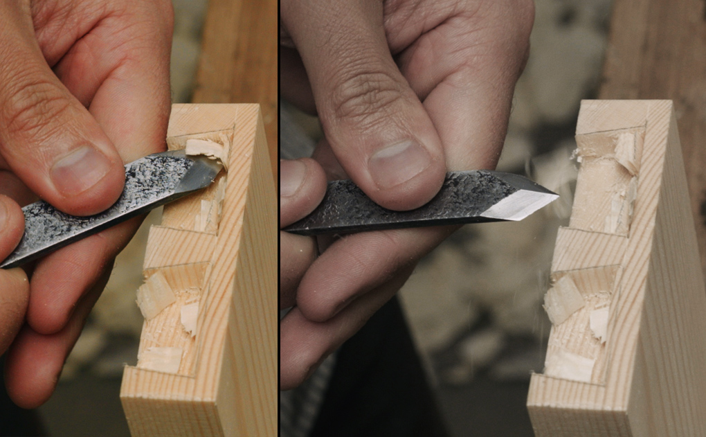 scoring half blind dovetails with a marking knife, woodworking marking knife