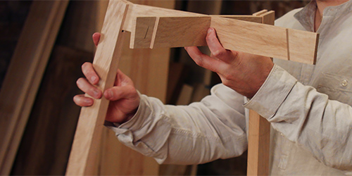 Assembling oak table base