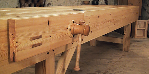 traditional workbench with face vice